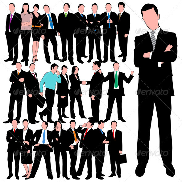 GraphicRiver 25 Business People Silhouettes Set 739348
