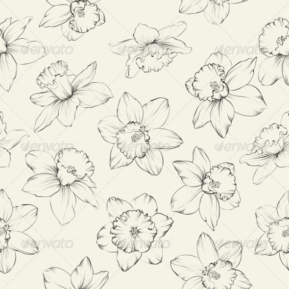 GraphicRiver Seamless Pattern with Flowers Narcissus 7049398
