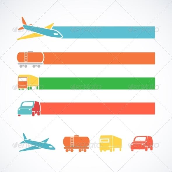 GraphicRiver Transportation Ribbons Set 7049477