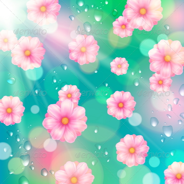 GraphicRiver Pink Spring Flowers and Water Drops 7049870