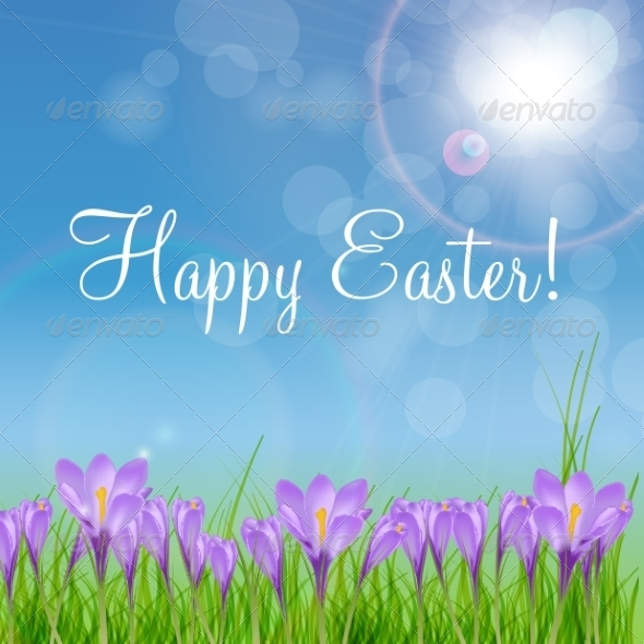 GraphicRiver Happy Easter Card with Crocuses 7049910