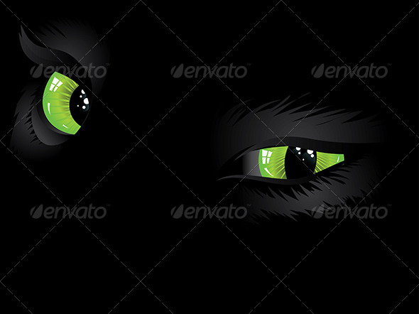 GraphicRiver Green Cat Eyes in the Dark 7050688