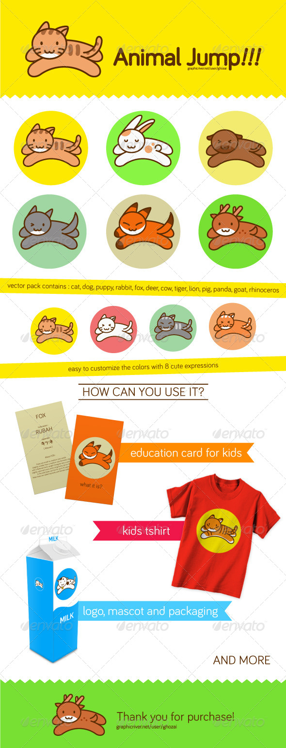 GraphicRiver Jumping Animal Vector Pack 7050869