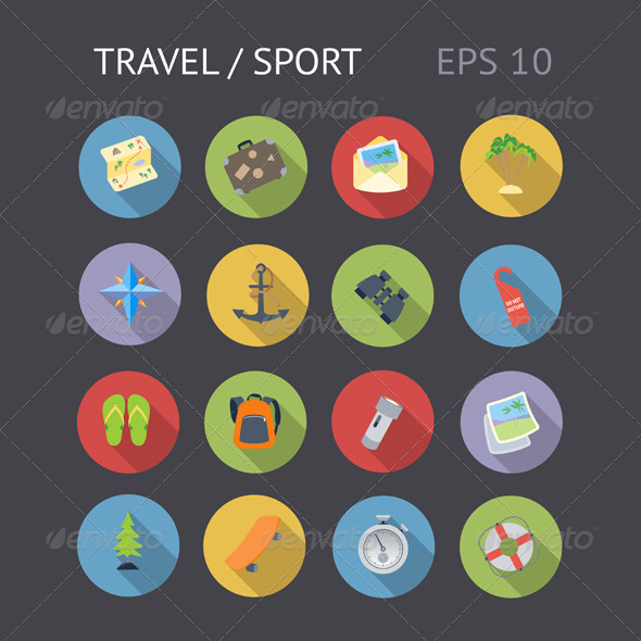 GraphicRiver Flat Icons For Travel and Sport 7051361