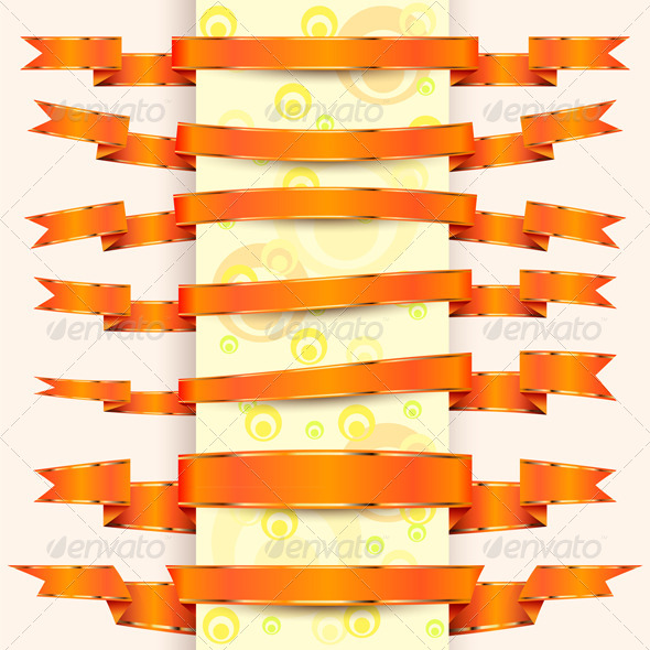 GraphicRiver Collection of Orange Ribbons with Gold Stripes 7051748