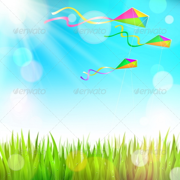 GraphicRiver Summer Landscape and Colorful Kites 7051829