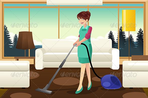GraphicRiver Professional Maid Vacuuming Carpet 7052206