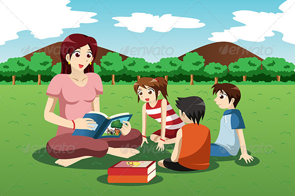 GraphicRiver Teacher Reading Book to Kids 7052253