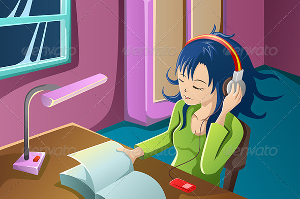 GraphicRiver Girl Reading a Book While Listening to Music 7052328