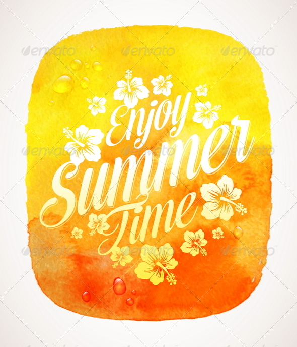 GraphicRiver Summer Time Greeting with Tropical Flowers 7052330