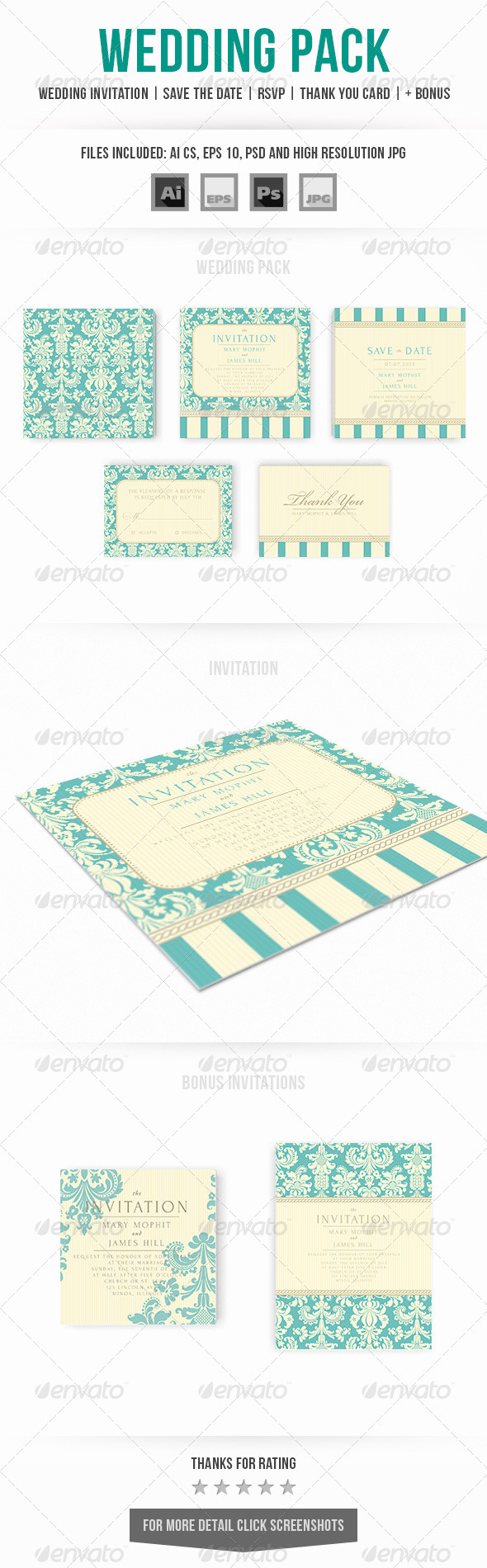 GraphicRiver Wedding Invitation Set 7040388