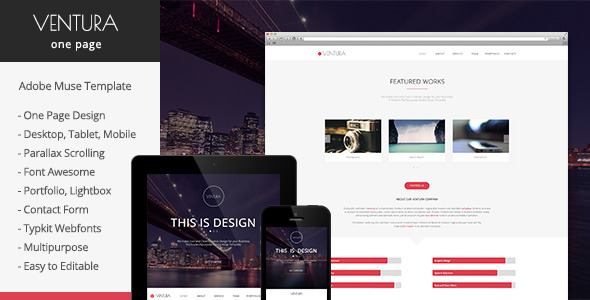 Ventura - Parallax One Page Muse Template