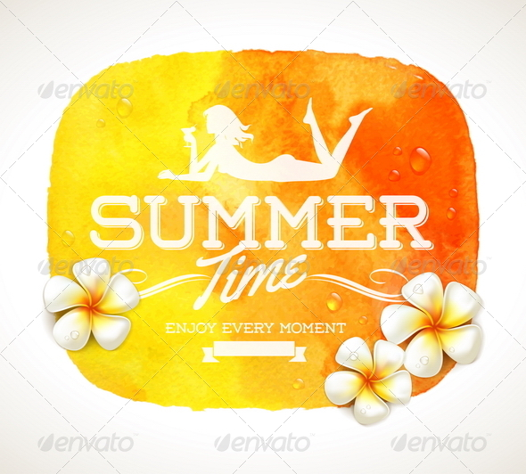 GraphicRiver Summer Time Greeting and Tropical Flowers 7052890