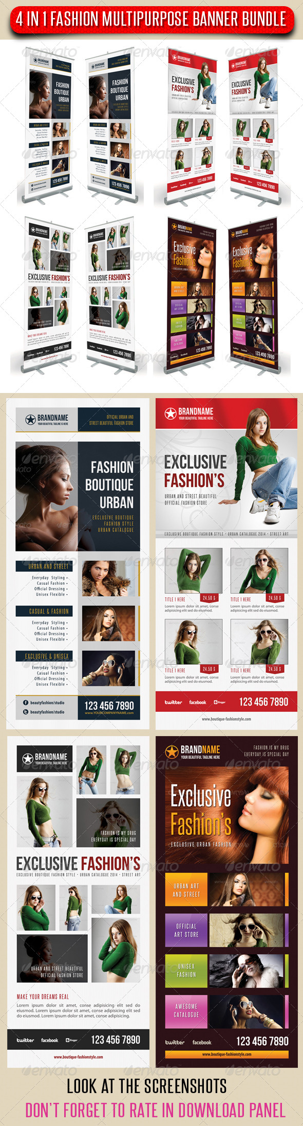 GraphicRiver 4 in 1 Fashion Multipurpose Banner Bundle 08 7052916