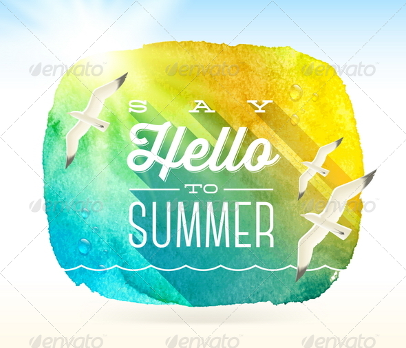 GraphicRiver Summer Greeting with Flying Seagulls 7052921