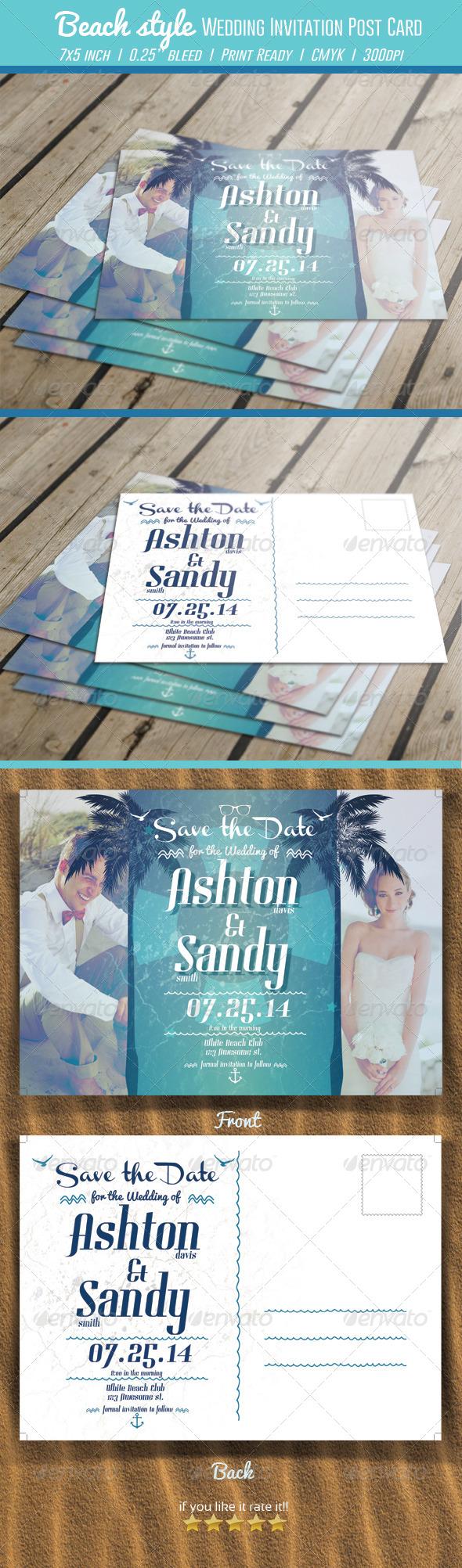 GraphicRiver Beach Style Wedding Invitation Post Card 7035108