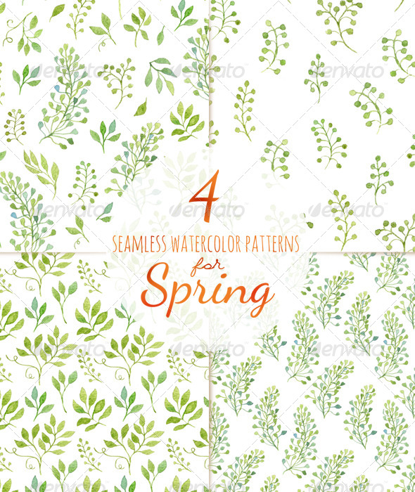 GraphicRiver 4 Seamless Patterns for Spring 7053732
