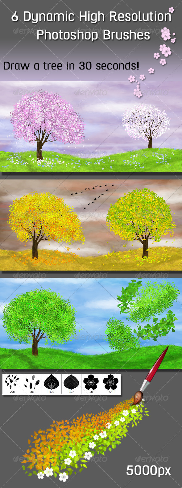 GraphicRiver 6 Dynamic High Resolution Photoshop Brushes Nature 7053796