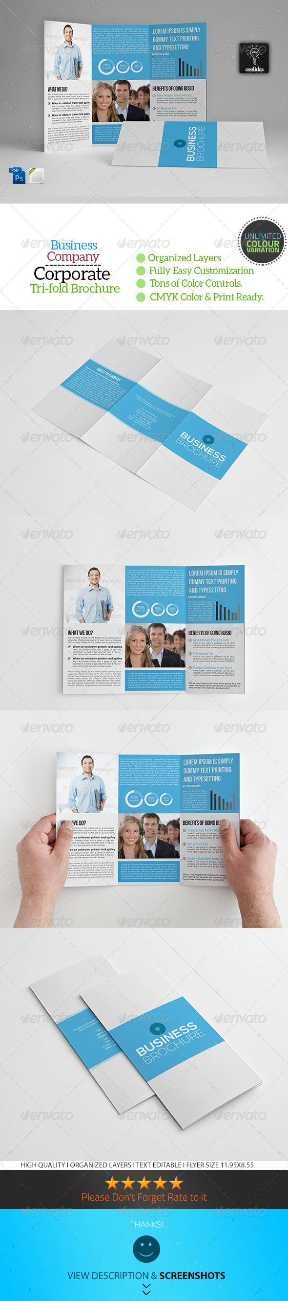 A4 Trifold Business Brochure Template Vol04