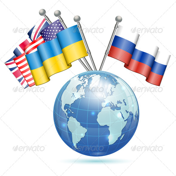 GraphicRiver Flags of Ukraine USA UK and Russia 7054217