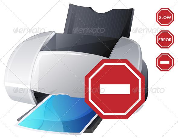 GraphicRiver Printer Error Icon Illustration 7054338
