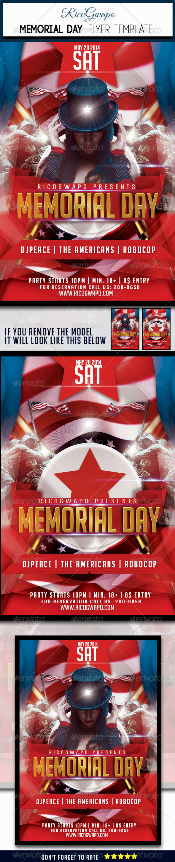 GraphicRiver Memorial Day Flyer Template 6984284