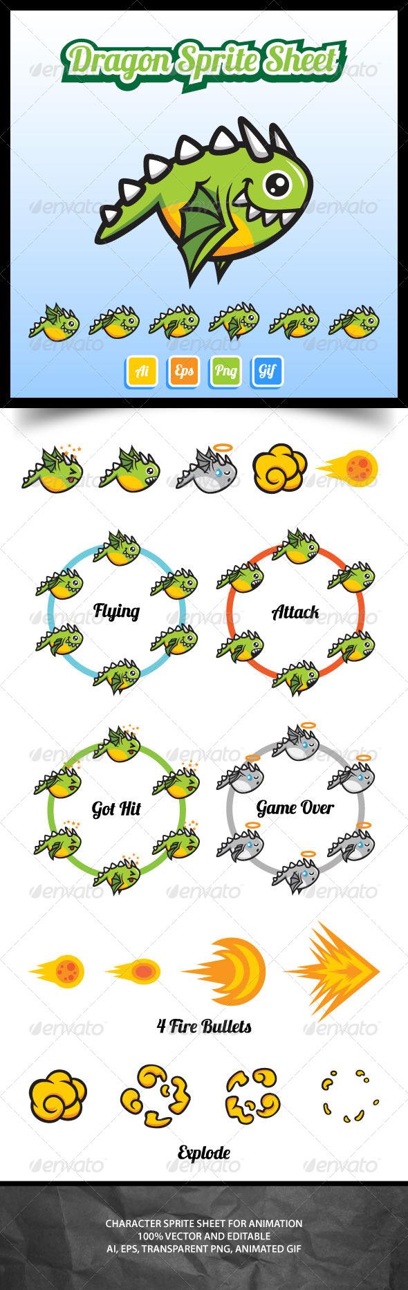 GraphicRiver Dragon Sprite Sheets 7055265