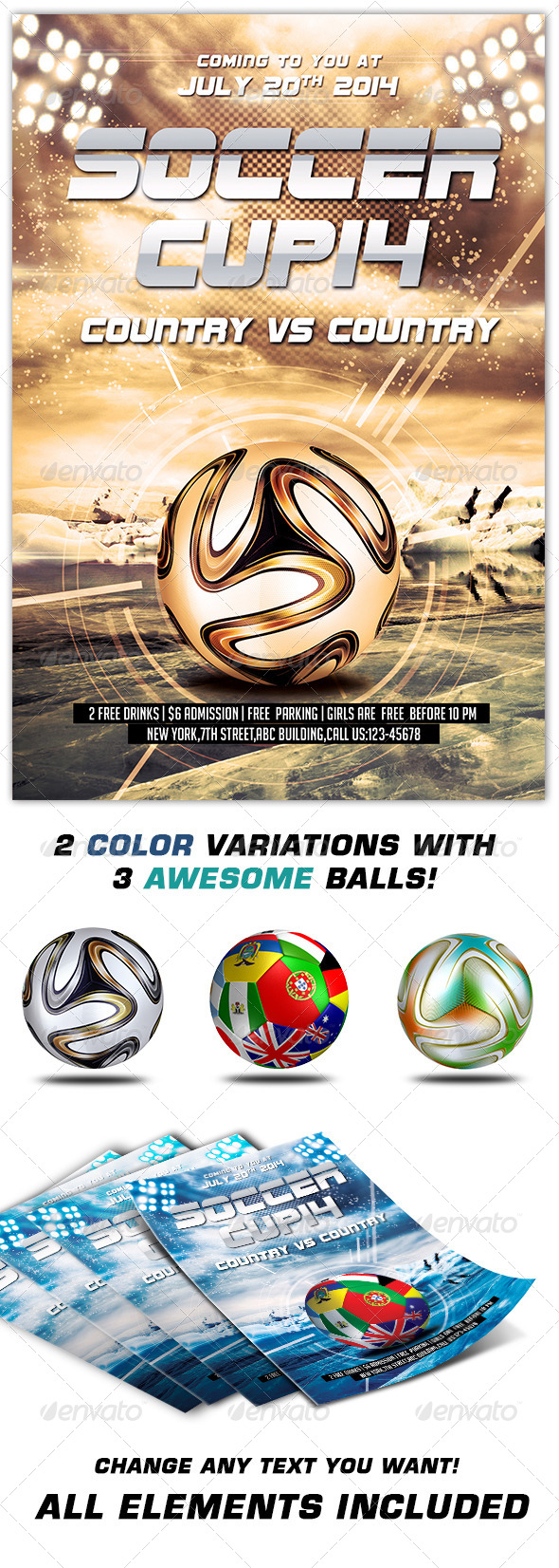 GraphicRiver Soccer Cup 2014 Flyer Template 7011404