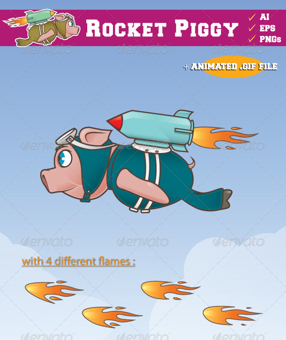 GraphicRiver Rocket Piggy Flying 7055386