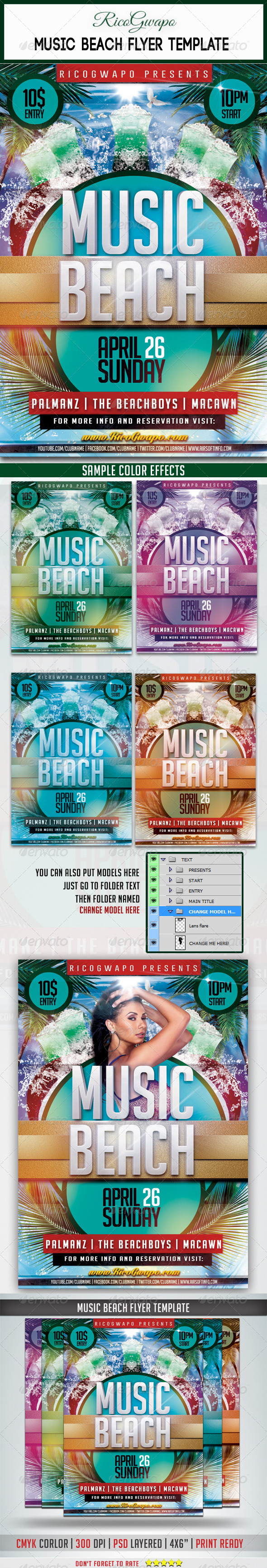 GraphicRiver Music Beach Flyer Template 7055539