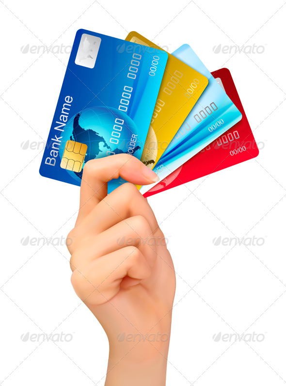 GraphicRiver Hand Holding Credit Cards 7040004