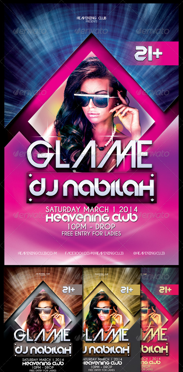 GraphicRiver Glame Party Flyer Template 7035835