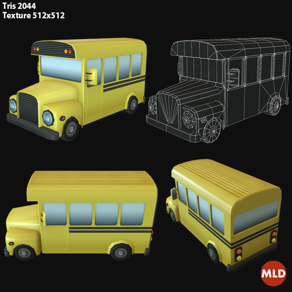 3DOcean Low Poly School Bus 7056727