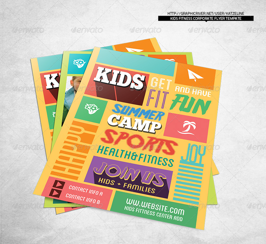 Kids Fitness Camp Flyer Template by katzeline – Camp Flyer Template