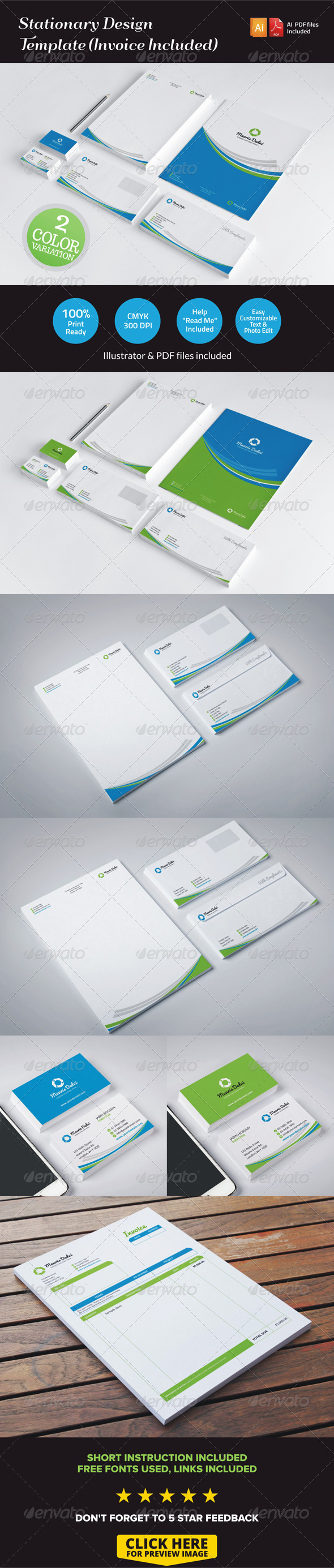 GraphicRiver Stationary Design Template Invoice Included 7058061