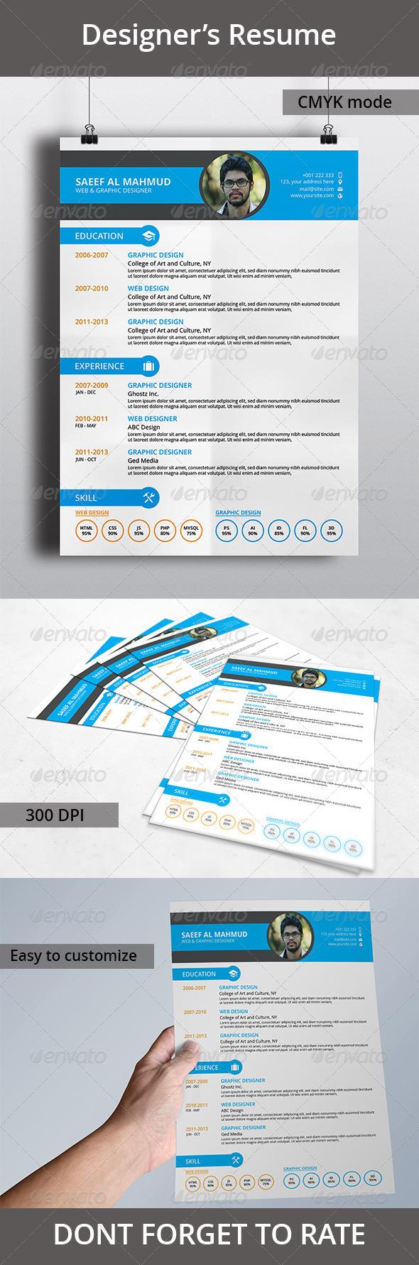 GraphicRiver Designer s Resume 7058266