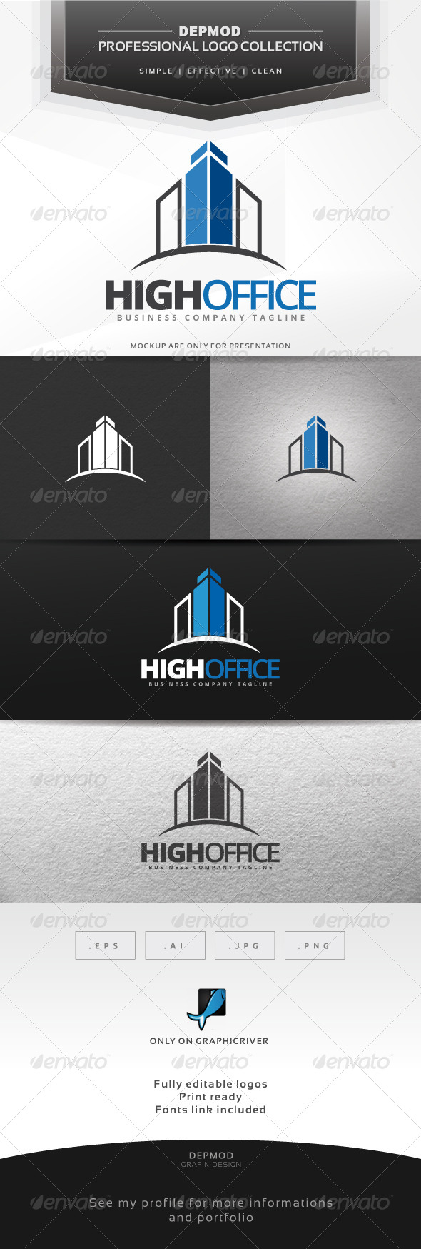 High Office Logo - Buildings Logo Templates