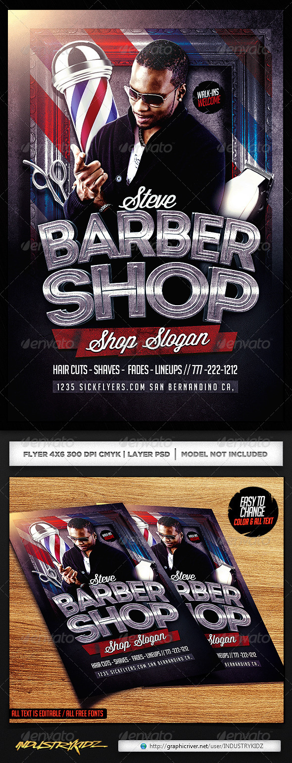 GraphicRiver Barbershop Flyer Template 7058689