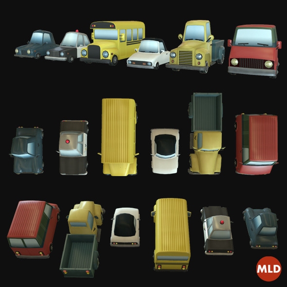 3DOcean Low Poly Car Set 7059001