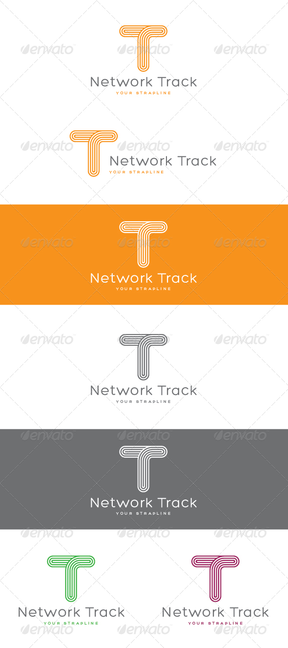 Network Track Letter T Logo
