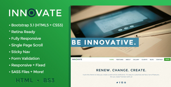 Innovate - Single Page Creative HTML5 Theme