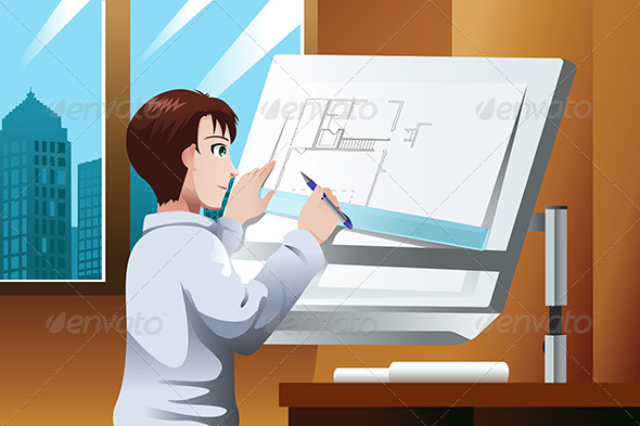 GraphicRiver Architect Working in the Office 7060760