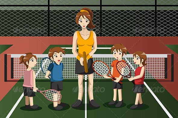 Kids in a Tennis Club