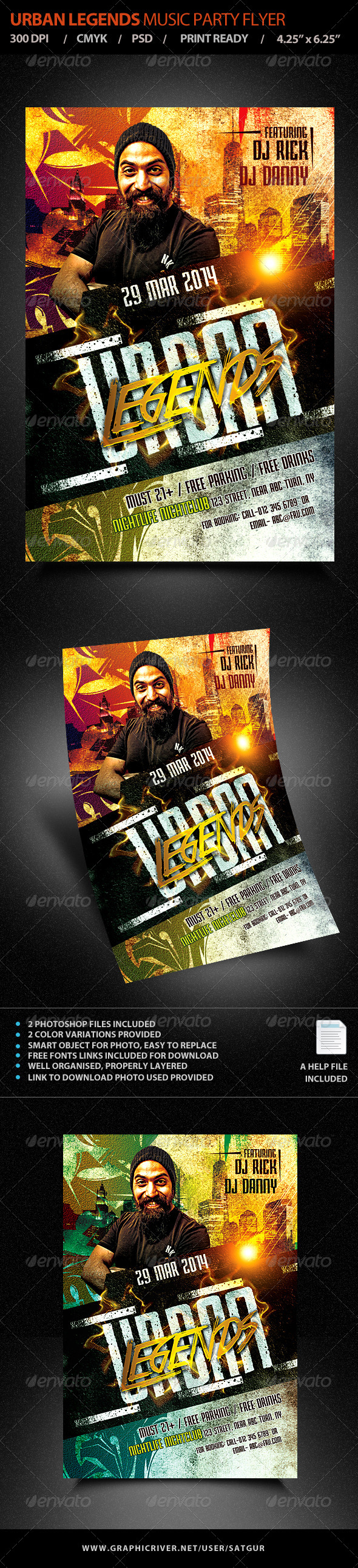 GraphicRiver Urban Legends Music Dance Party Flyer Template 7060845