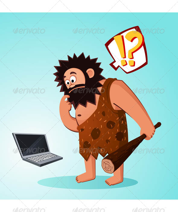 GraphicRiver Caveman Found a Laptop 7061201