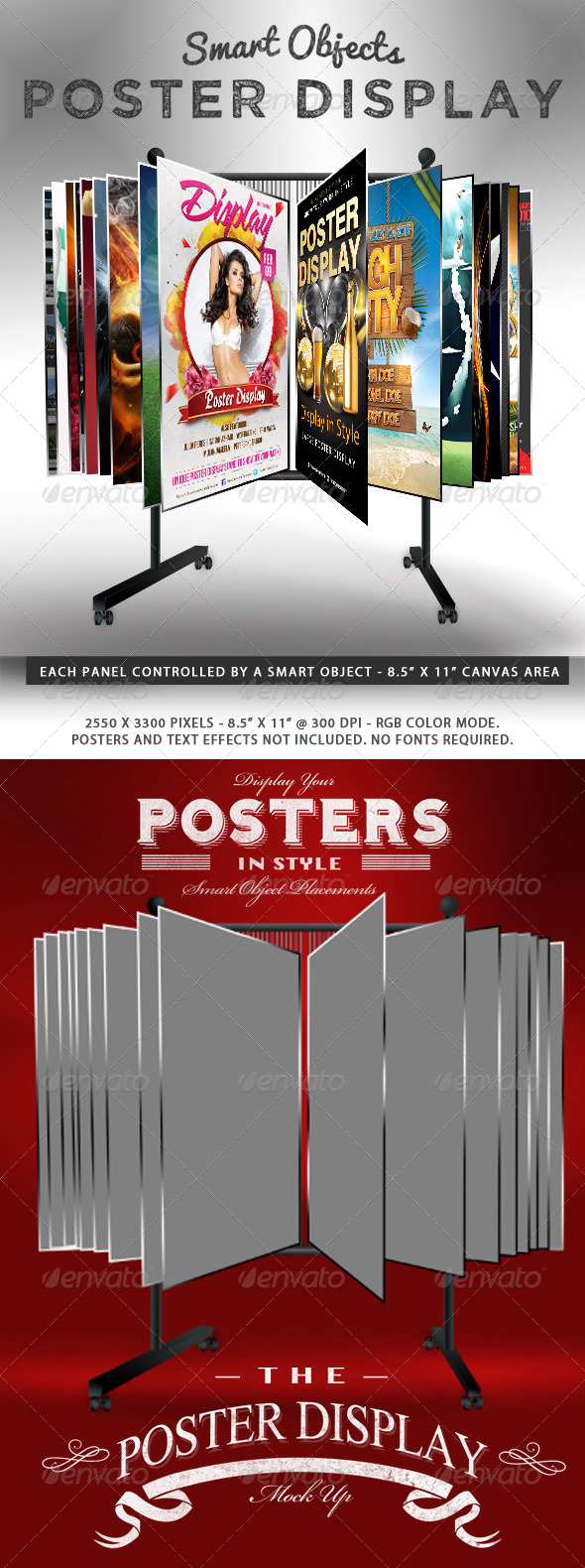 GraphicRiver Smart Object Poster Display Stand Mockup 7061202