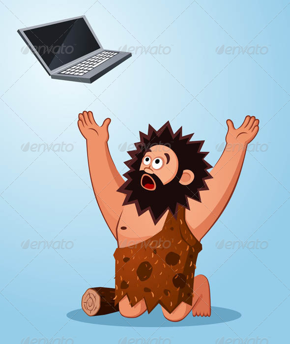 GraphicRiver Caveman Worshiping a Laptop 7061210