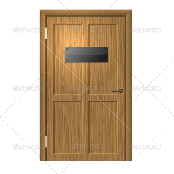 Realistic Wood Door with Blank Black Plate