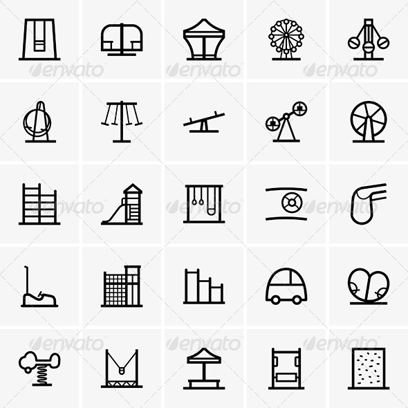 GraphicRiver Amusement Park Icons 7061314