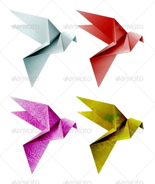 GraphicRiver Set of Colorful Origami Birds 7061851